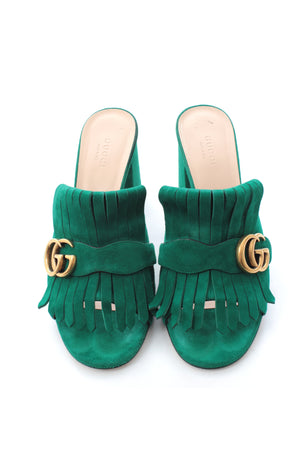 Gucci Marmont Mid-Heel Fringed Suede Mules