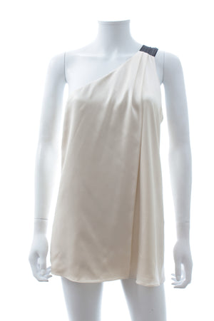 Alexander Wang One-Shoulder Draped Silk Top