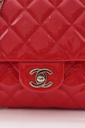 Chanel Timeless Patent Quilted Leather Flap Clutch