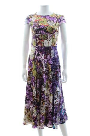 Mary Katrantzou Satin-Silk Leaf Print Dress