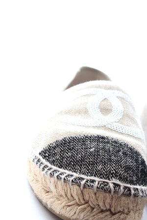 Chanel Sequin-Embellished Two-Tone Canvas Espadrilles