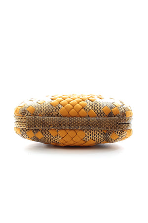 Bottega Veneta Intrecciato Python & Leather Clutch W/Chain