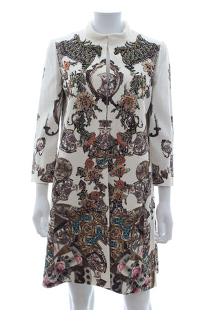 Antonio Marras Printed Embellished Jacquard Coat