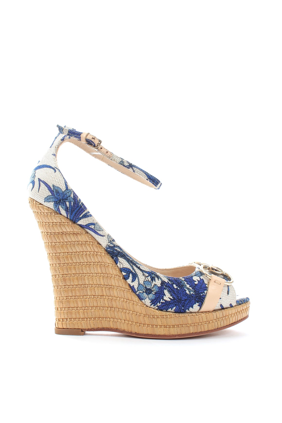 Gucci Horsebit Floral-Printed Raffia Wedge Sandals