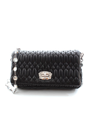 Miu Miu Crystal Cloqué Napppa Leather Bag - Current Collection