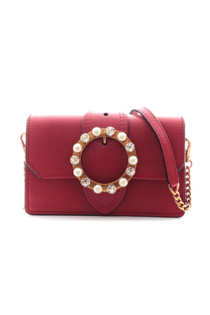 Miu Miu Madras Crystal and Pearl Embellished Crossbody Bag