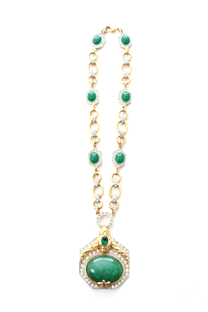 Roberto Cavalli Crystal and Stone Pendant Chain Necklace