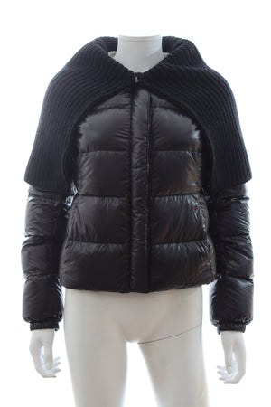 Prada Knitted-Collar Short Down Coat