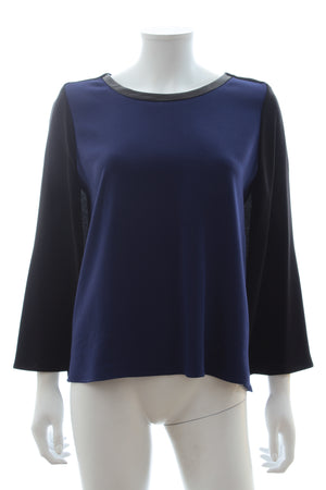 Maje 'Rame' Leather-Trimmed Crepe Top