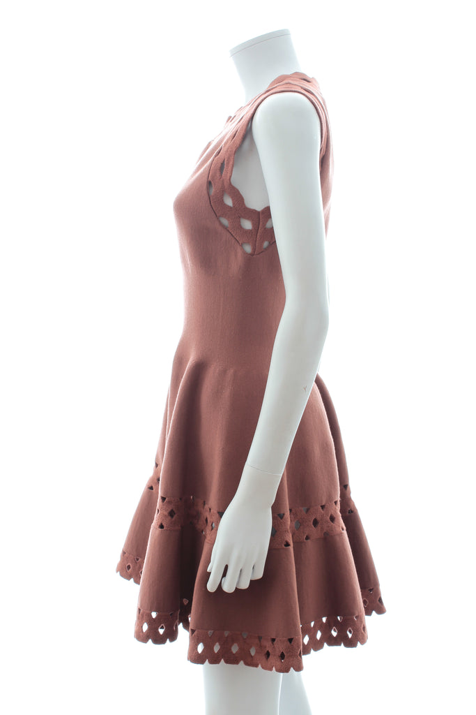 Alaïa Wool-Blend Cut Out Detailed Dress and Cardigan