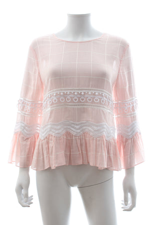 Jonathan Simkhai Voile Grid Embroidered Blouse