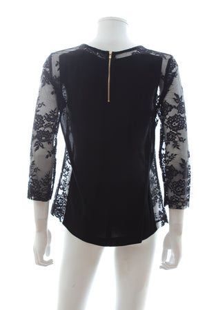 Sandro Lace Panelled Silk Top