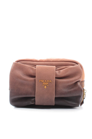 Prada Glace Zippers Bow-Appliqué Degrade Clutch Bag