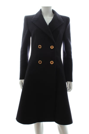 Prada Fit and Flare Wool Tailored Long Coat
