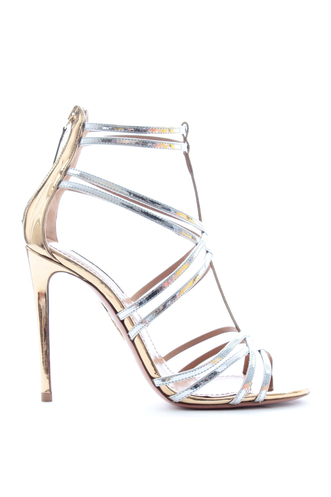 Aquazzura Princess 105 Metallic Leather Sandals