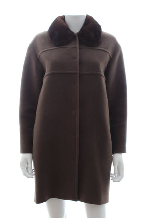 Tara Jarmon Mink Fur Collar Wool-Angora Coat