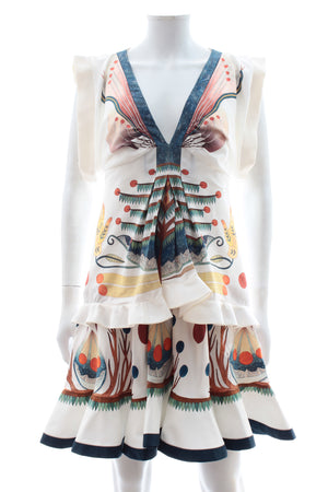 Chloé Ruffled Printed Silk Mini Dress