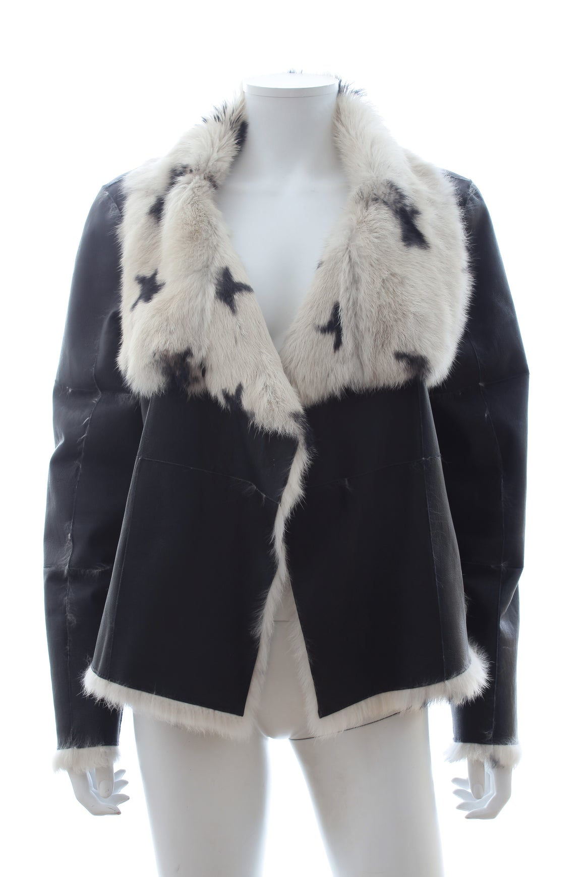 Yves Salomon Meteo Reversible Star Print Rabbit Fur Jacket