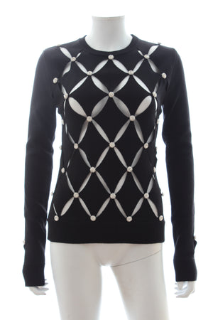 Paco Rabbane Crystal Embellished Cutout Merino Wool Sweater