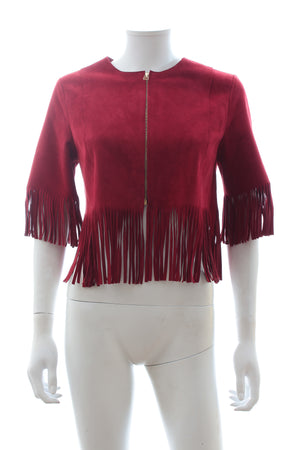 Sandro Cropped Fringed Suede Jacket
