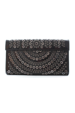 Alaïa Eyelet Leather Flap Clutch Bag