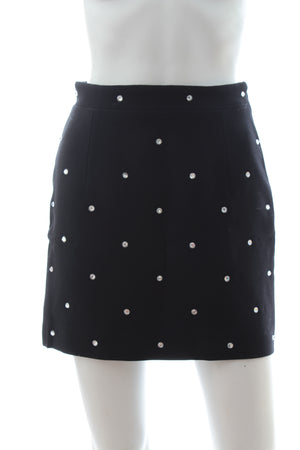 Alessandra Rich Crystal Embellished Wool Mini Skirt