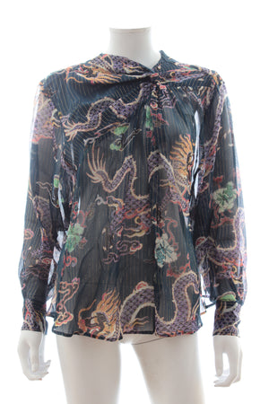 Isabel Marant Debby Dragon Printed Silk Top