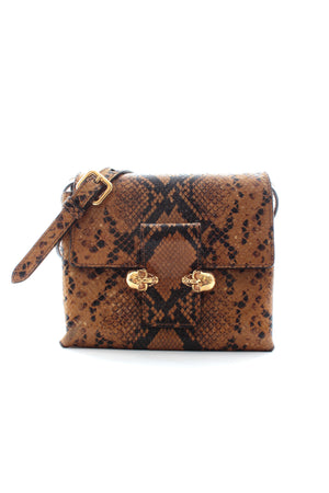 Alexander McQueen Twin Skull Python Leather Crossbody Bag