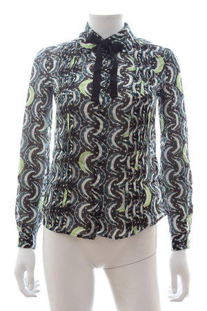 Miu Miu Metallic Silk-Blend Printed Blouse