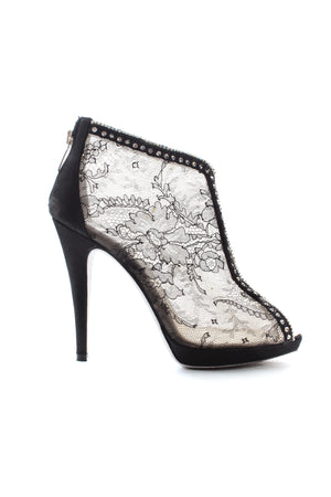 Rene Caovilla Embellished Lace Open-Toe Boots