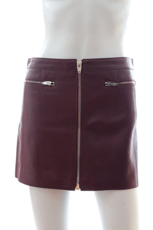 Alexander Wang Textured Leather Zip Mini Skirt