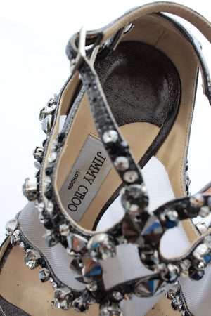 Jimmy Choo 'Viola' Embellished Metallic Sandals