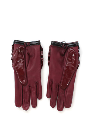 Prada Patent Leather Ruffle Gloves