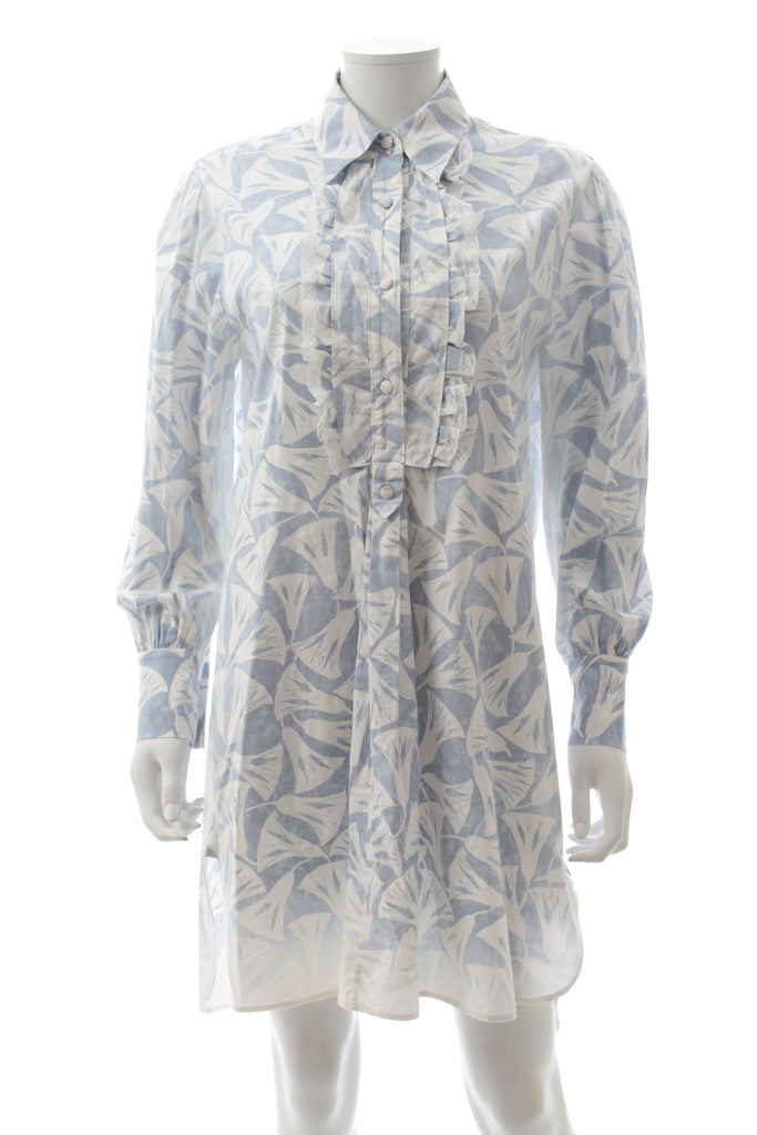 Prada Ruffle-Detailed Stretch-Cotton Shirtdress