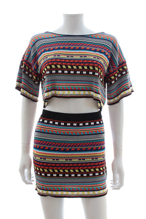 Emilio Pucci Stretch-Knit Printed Top and Skirt