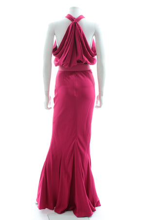 Dior Draped Halter-Neck Crepe Belted Evening Gown
