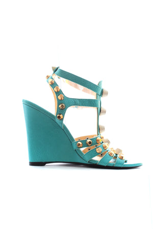 Balenciaga Studded Textured Leather Wedge Sandals