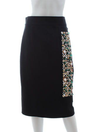 Prada Embellished Stretch-Cotton Pencil Skirt