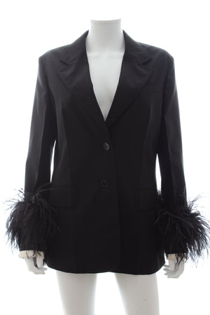 Prada Ostrich Feather Cuff Wool Tailored Blazer