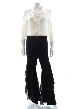 Valentino Silk Ruffled Blouse and Trousers