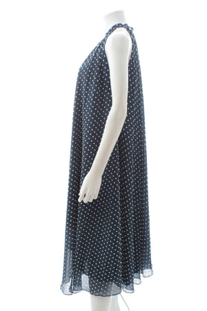 Saloni 'Iris' Polka-Dot Flocked Georgette Midi Dress