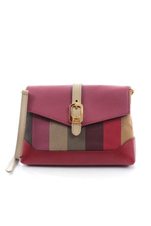 Fendi Penguin Stripe and Leather Crossbody Bag