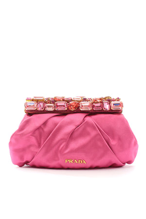 Prada Raso Stones Satin Clutch Bag