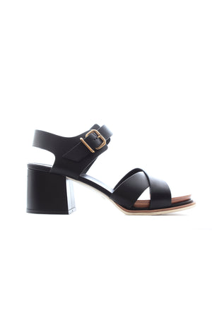 Tod's Buckled Block Heel Leather Sandals