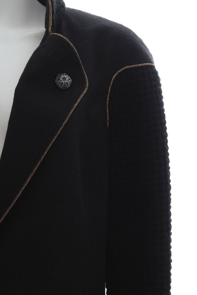 Chanel Metallic-Trimmed Gripoix Crystal Buttoned Wool Coat