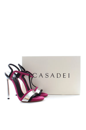 Casadei Metallic Leather and Suede Sandals