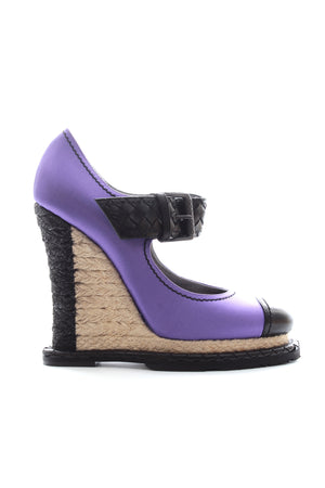 Bottega Veneta Intrecciato Satin Espadrille Wedge Pumps