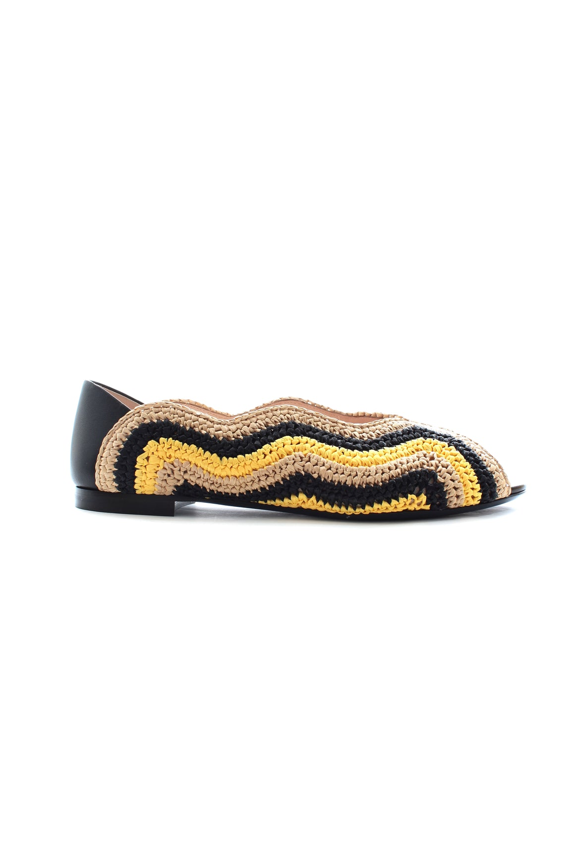 Fendi Raffia and Leather Ballet Flats