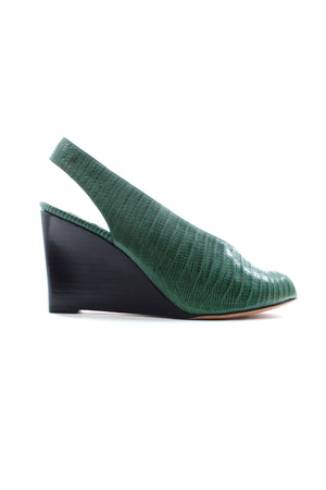 Celine Exotic Leather Open Toe Wedge Pumps