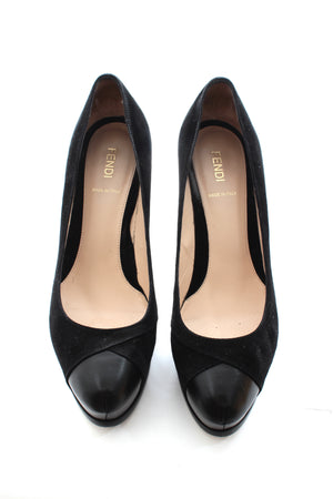 Fendi Suede and Leather Classic Pumps